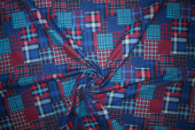 "Japanese Velvet Finish ""Patchwork Plaid"" Cotton - Blues/Red/Gray"