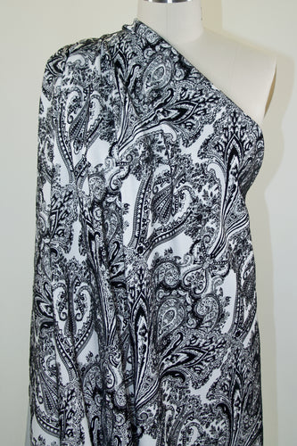 Bold Paisley Textured Scuba Knit - Black/White