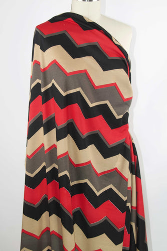 Getting Ziggy With It Ponte Knit -Black/Taupe/Beige/Red