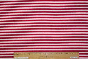 Designer Striped Ponte Knit - Red/White
