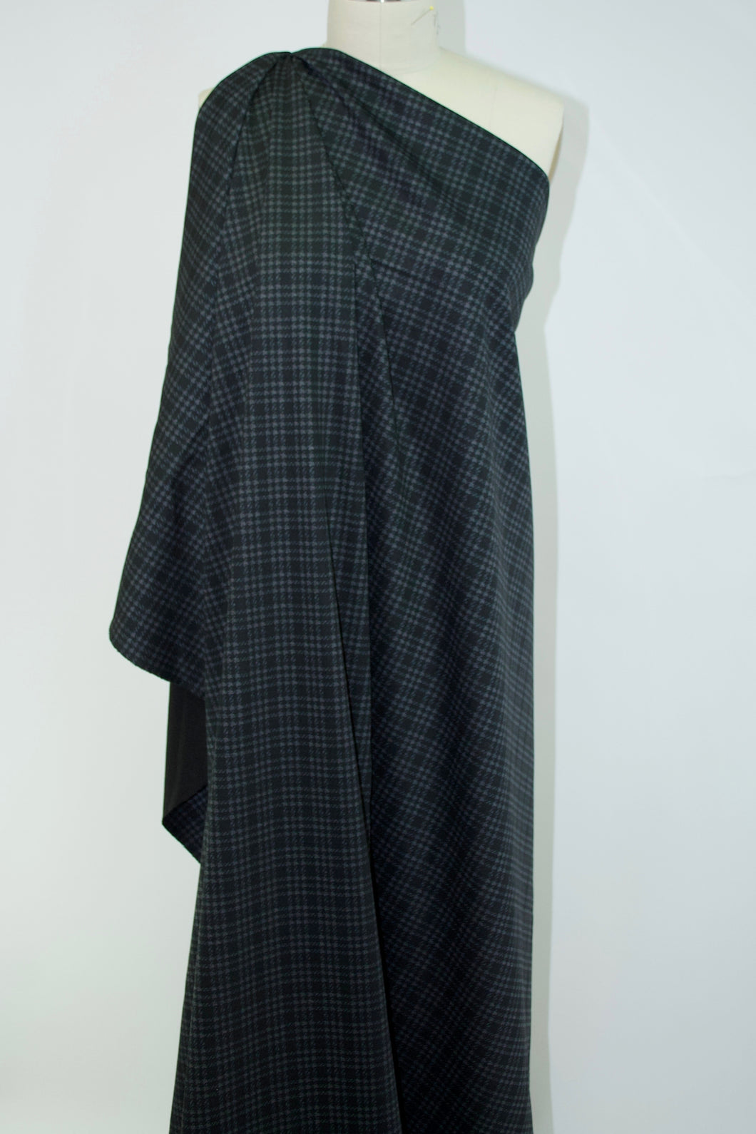 Glen Plaid  NY Designer Scuba Knit - Gray/Black