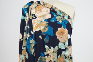 Fall Floral Liverpool Knit - Tans/Blue/Aqua on Black