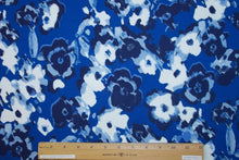 2 yards of Fab and Fun Floral Liverpool Knit - Blues/White