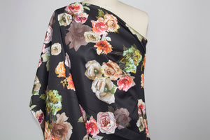 NY Designer Floral Scuba - Multi on Black