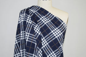 Super Soft Plaid Liverpool Knit - Darkest Navy/Brown/White