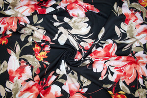 NY Designer Bold Floral Scuba - Red Tones on Black