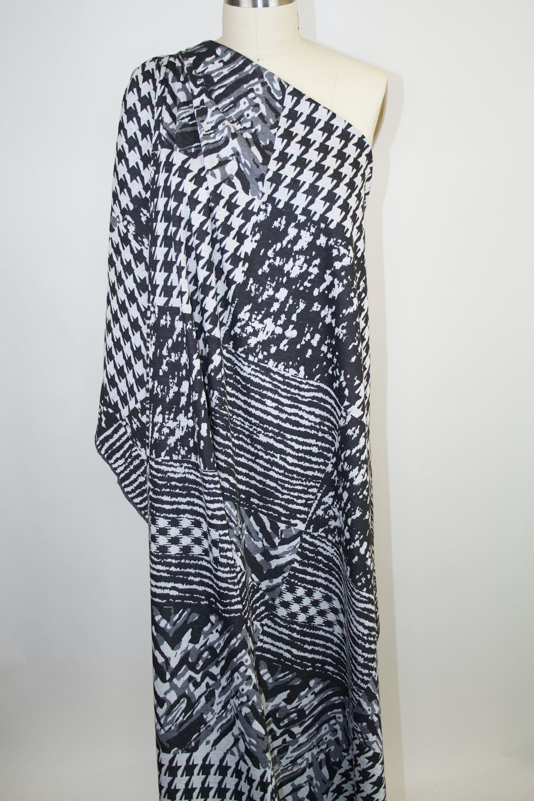 Squared Off Print Designer Ponte Knit - Black/Grays