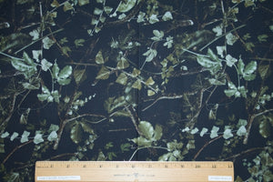 1 1/2+ yards of Nighttime Vines Denim - Greens on Black