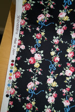 Ribbons and Roses Japanese Cotton Twill - Multi on Black