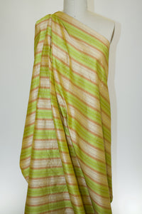 Embroidered Striped Silk Dupioni - Golds/Greens