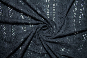 Double Scalloped Broderie Anglaise - Black