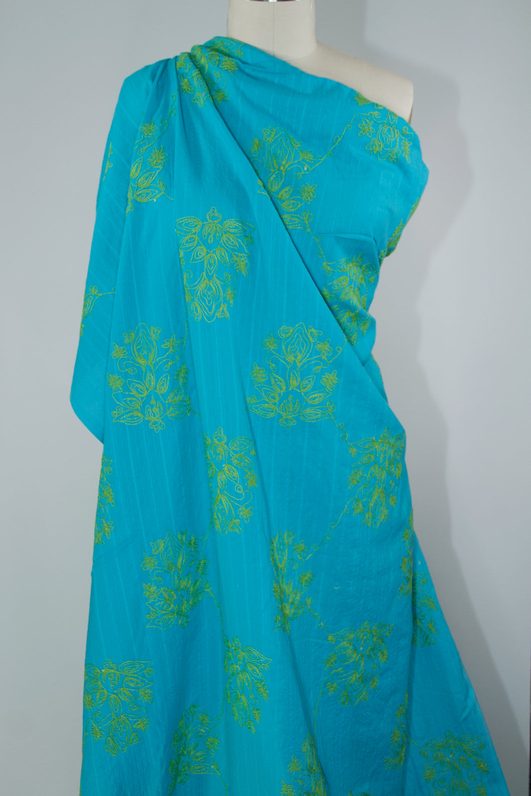 Japanese Embroidered Cotton Jacquard - Bright Teal/Lime