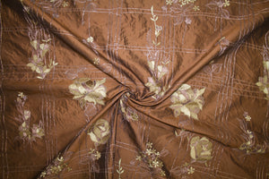 2 1/2 Yards of Embroidered Wide Silk Dupioni - Gold Tones on Ginger