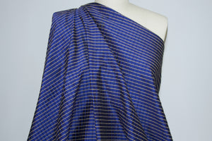 Pintucked Silk Taffeta - Blue/Gold