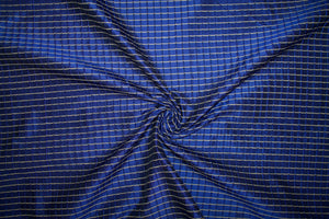 1 ¼ yards of Pintucked Silk Taffeta - Blue/Gold