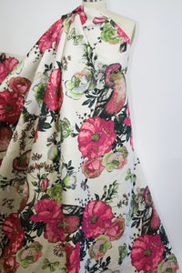 Haute Designer Floral/Avian Pongee Brocade - Multi on Natural