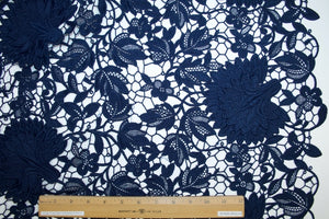 French Heavy Appliquéd Guipure Lace - Navy Blue