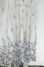 French Beaded Embroidered Double Border Soft Mesh - Silver Tones/Lilac