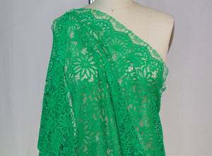 Panel: NY Designer Corded Rayon-blend Lace - Emerald