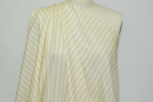Japanese Striped Bemberg Rayon Lining - Yellow/Navy/Ivory