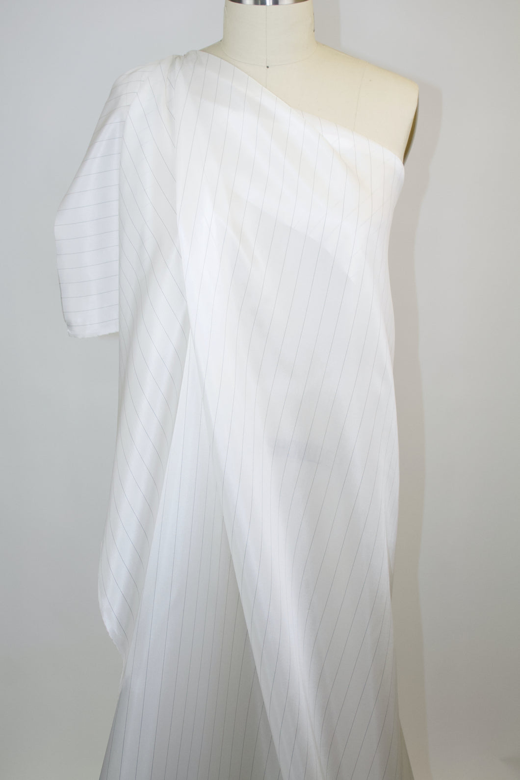 Japanese Pinstriped Bemberg Rayon Lining - Off-White/Black