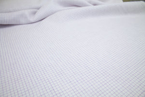 Italian Shirt-Weight Linen Windowpane Check - Lavender/White