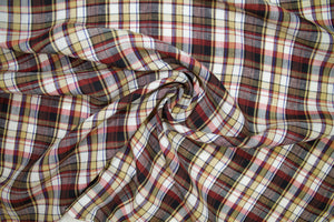 Italian Shirt-Weight Linen Plaid - Fall Tones
