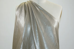 Metallic Coated Handkerchief Linen - Deep Tan/Gold