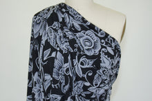 Floral/Lacy Single Border ITY Jersey - Gray/Black