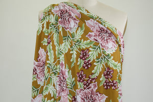 Designer Textured Floral ITY Jersey - Greens/Purples on Cumin
