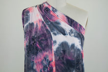 Think Pink! And Blue Tie Dye Effect Double Brushed ITY - Pink/Blue/White