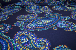 Bold Scale Paisley ITY Jersey - Blue Tones