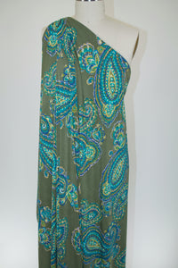 Bold Scale Paisley ITY Jersey - Olive Tones