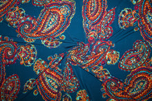 1 7/8 yards of Bold Scale Paisley ITY Jersey - Orange Tones on Navy