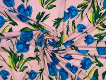 Tulip Beds ITY Jersey - Blues/Greens on Soft Pink
