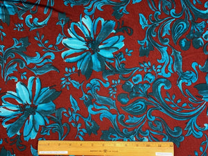 Stylized Floral/Paisley ITY Jersey - Teals on Burgundy