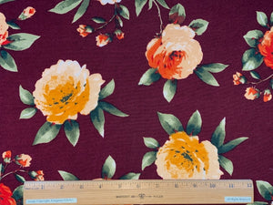 Rose Garden ITY Jersey - Reds/Peaches/Greens on Burgundy