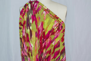 Abstract Print ITY Jersey - Pinks/Browns on Olive