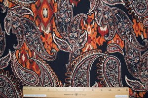 Shadow Paisley ITY Jersey - Earth Tones on Black