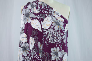 Designer Textured Floral ITY Jersey - Gray/White/Gold on Eggplant