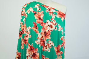 Designer Textured Floral ITY Jersey - Coral Tones on Green