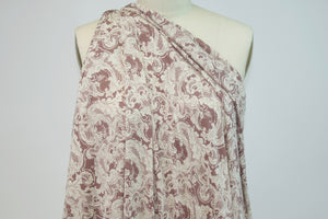 Super Soft Filigree Latticework Brushed Jersey - Mauve/Ivory