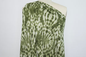 Tye-Dye Effect Double Brushed ITY Jersey - Greens/White