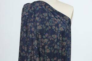 Night Blooming Florals Sequined ITY Jersey - Green/Brown on Darkest Navy