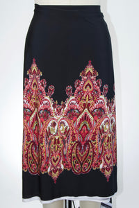 Bold Paisley Double Border ITY Jersey - Reds on Black