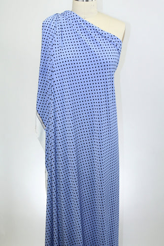 Polka Dot Panel Print ITY Jersey - Cornflower Blue/Black