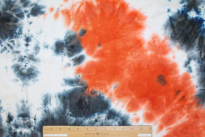 Desert Oasis Tye Dye Double Brushed ITY Jersey - Oranges/Blues/White