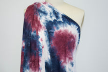 Abstract Tye Dye Effect Double Brushed ITY Jersey - Blues/Wine/White