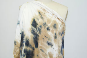 Abstract Tye Dye Effect Double Brushed ITY Jersey - Tan/White/Blues