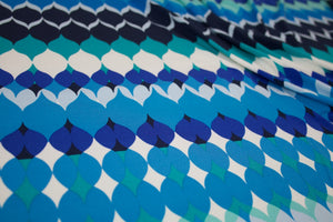 1 yard of Mid Century Drip Drops  ITY Jersey - Blue Tones